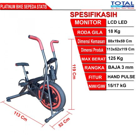 Sepeda Fitness PLATINUM BIKE 2 detailed_ukuran_platinumbike
